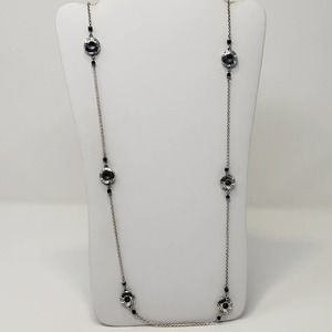 Brighton Round Station Black Crystal Long Necklace Silver Plated Swirl Pattern